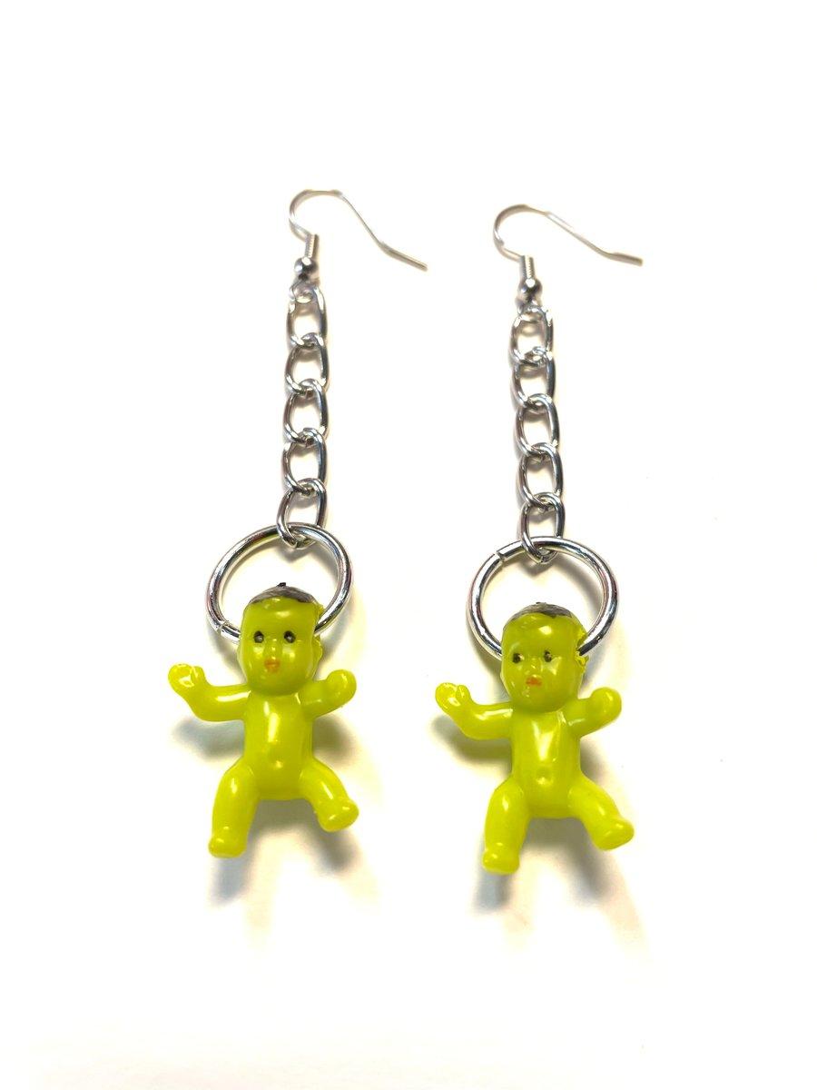 Image of Alien Baby Chain Earrings