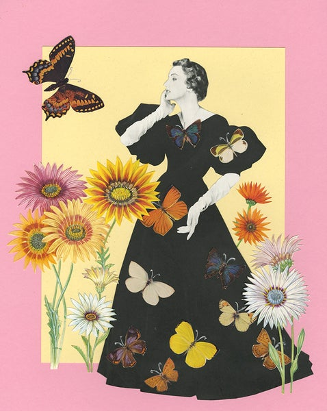 Image of Butterfly Garden. Original paper collage.