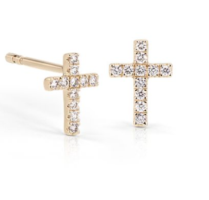 Image of 14 kt and diamond cross studs
