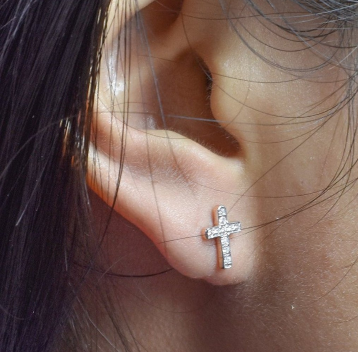 Image of 14 kt and diamond cross studs