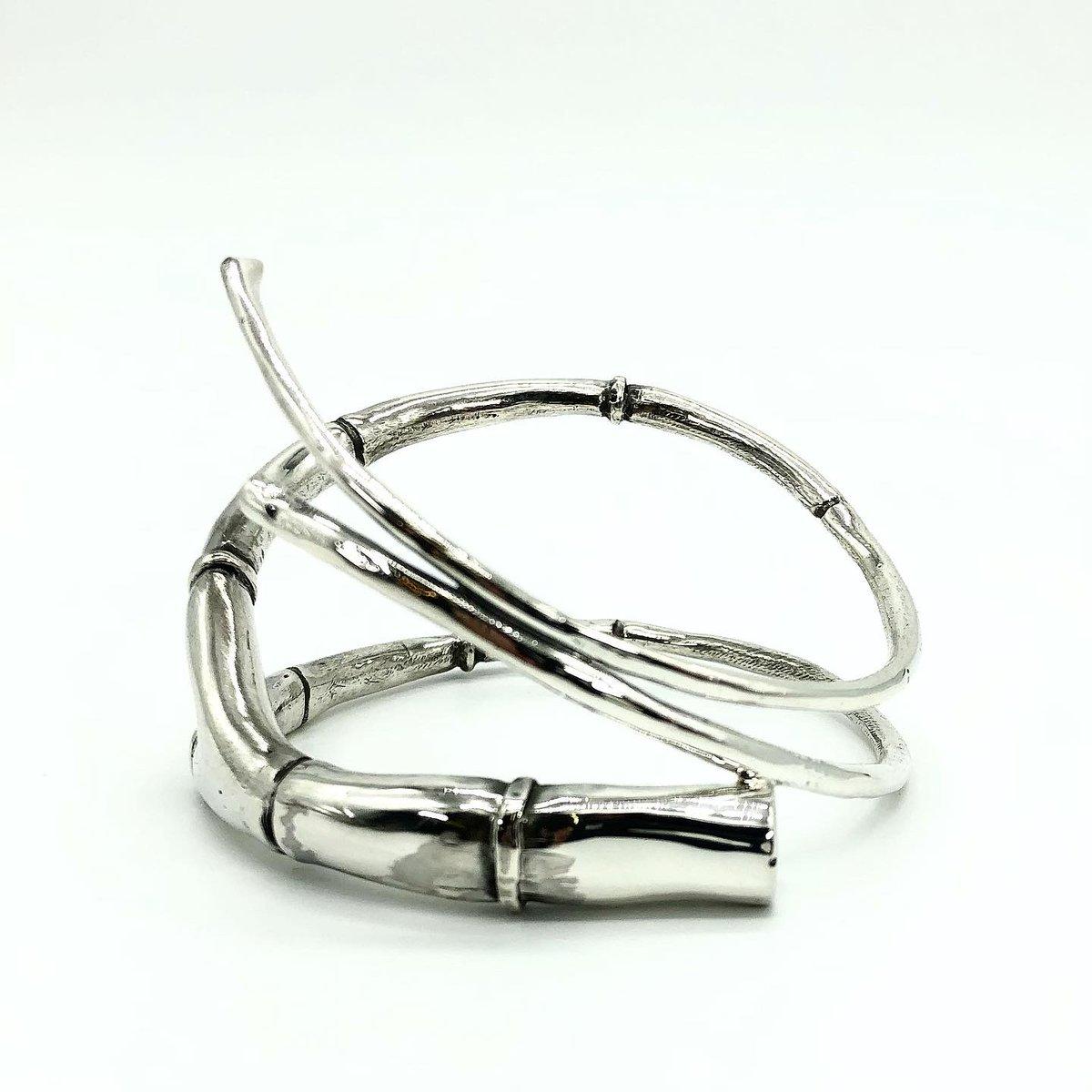 Image of Silver Branch Tendril Bangle Bracelet 01