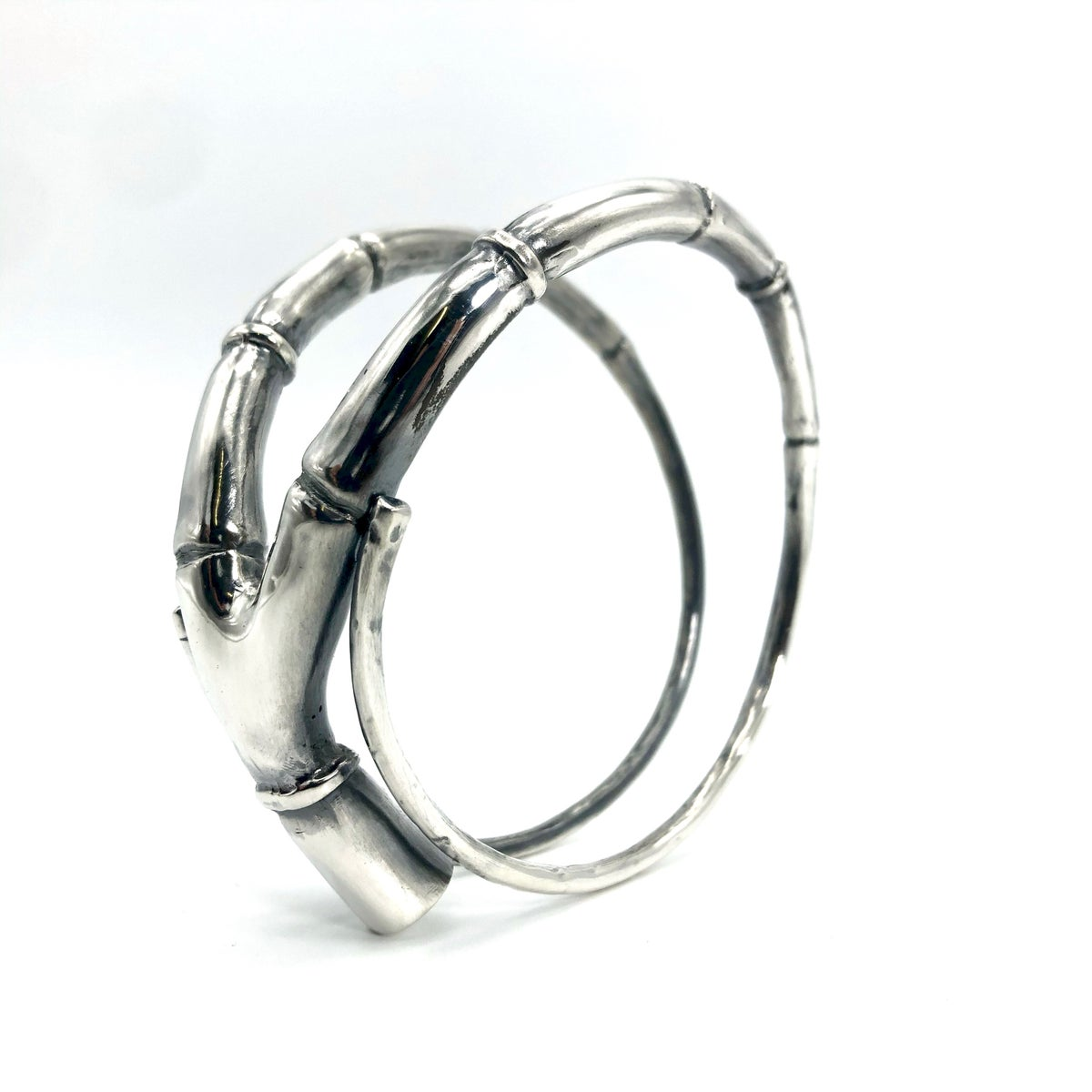 Image of Silver Branch Tendril Bangle Bracelet 02