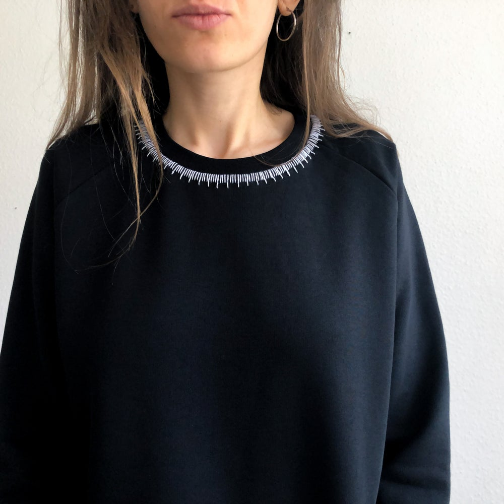 Image of Neck ruler - hand embroidered organic cotton sweatshirt, available in ALL sizes