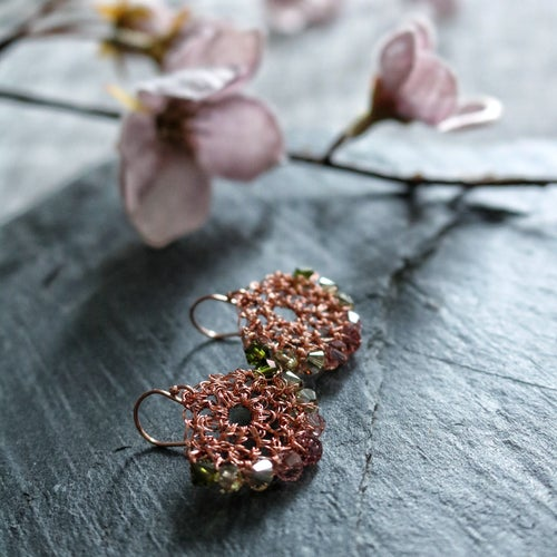 Image of CRESCENT EARRINGS - Cherry Blossom