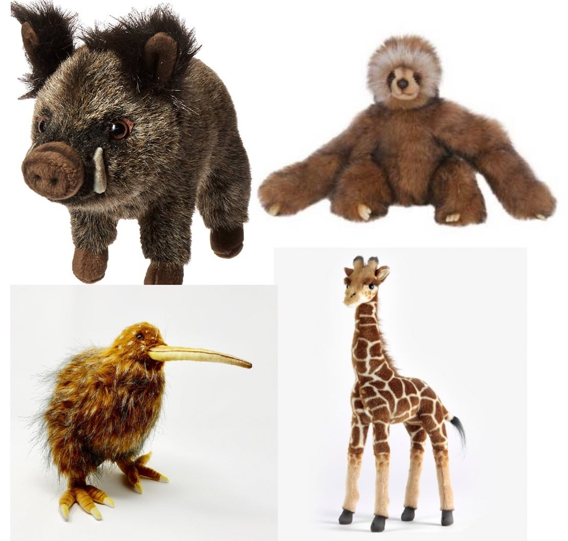 Image of Stuffed Animals: Boar, Sloth, Giraffe, or Kiwi