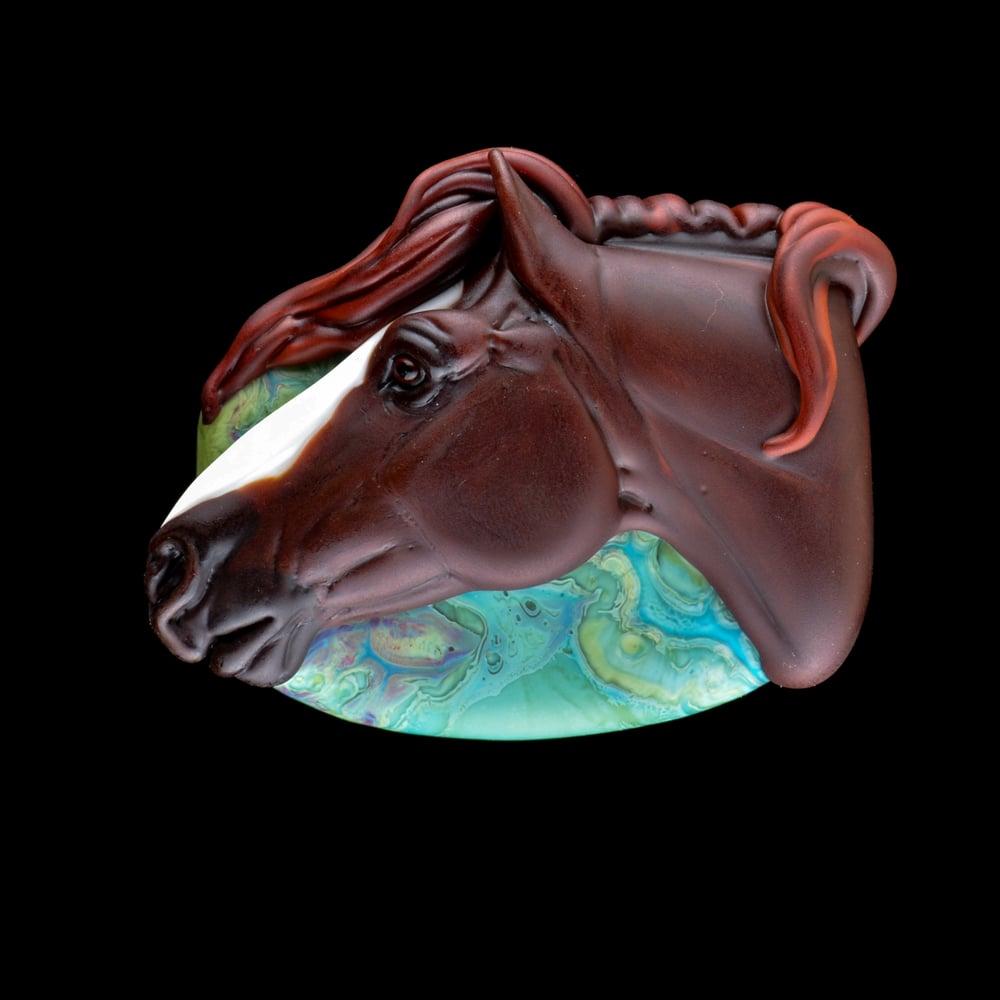 Image of XXL. Zander - Wind Tossed Stallion - Flmamework Glass Sculpture Bead