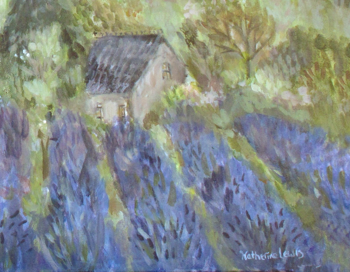 Image of Pig Over Lavender | 30x24 Original Painting on Canvas