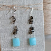 Image of Peruvian Opal and Smoky Quartz Earrings