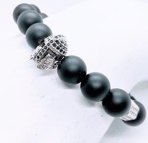"Original ""Greek Silver & Black Helmet"" Stretch  Bracelet"
