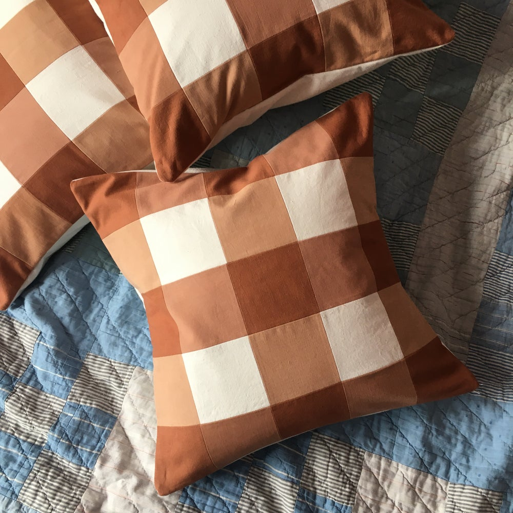 Image of Gingham patchwork cushion