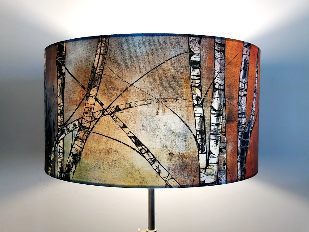 Image of Silver Birch Drum Lampshade by Lily Greenwood (45cm, Floor/Standard Lamp or Ceiling)