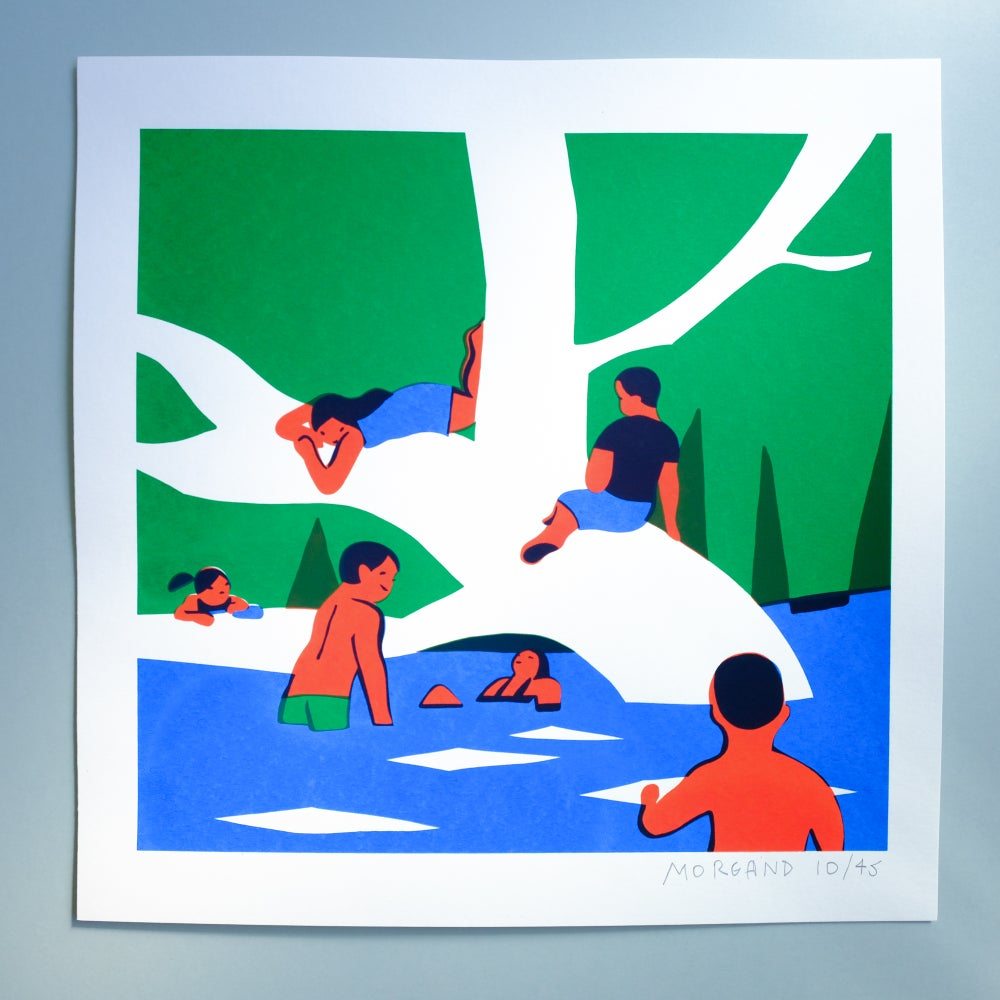 Image of Bathing under the tree (Childhood in the woods series)