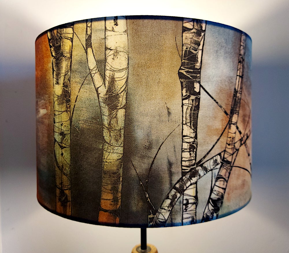 Image of 'Silver Birch' Drum Lampshade by Lily Greenwood (30cm, Table Lamp or Ceiling)