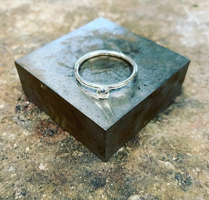 Image of Silver Diamond Pebble Ring