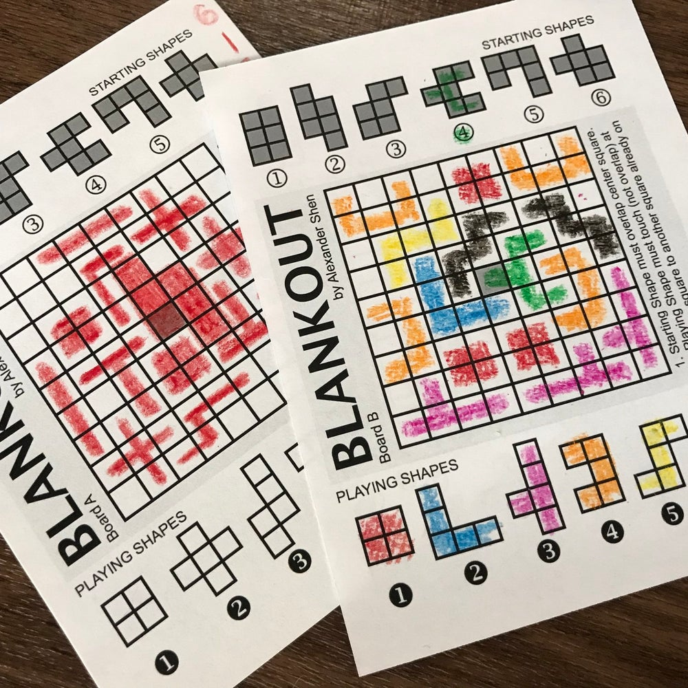 Blankout Roll and Write Game