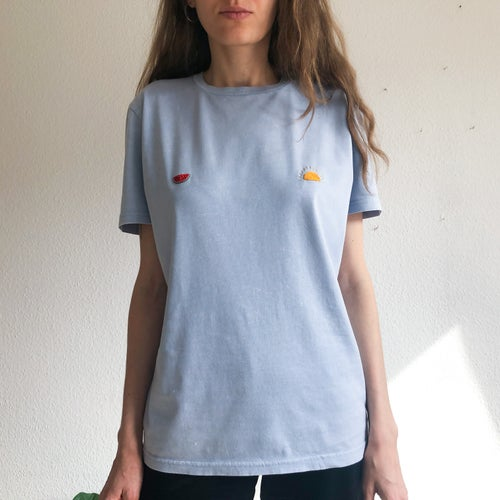 Image of Sunny nips t-shirt no.2 // hand embroidered organic cotton t-shirt, available in ALL sizes