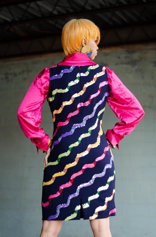 Image of Vintage Night Line Colorful Sequins/Beads Ripple Dress