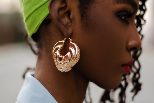 Image of Gold Azziza Gold Decorative Hoops