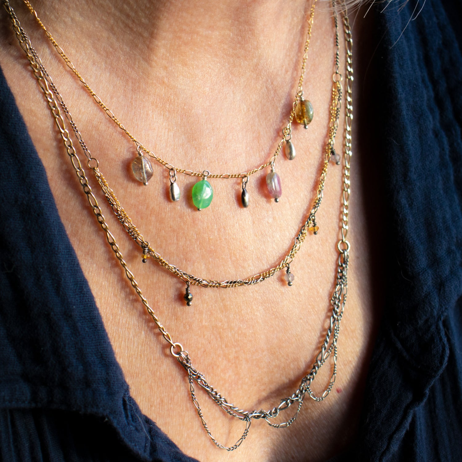 Image of Tangled Silver & Gold Mixed-Chain Beaded Choker