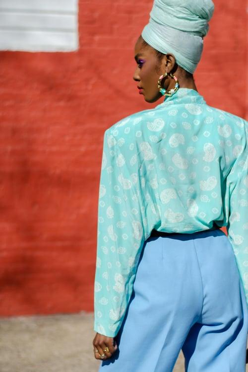 Image of Vintage Gayle Paisley Print Sash Tie Blouse