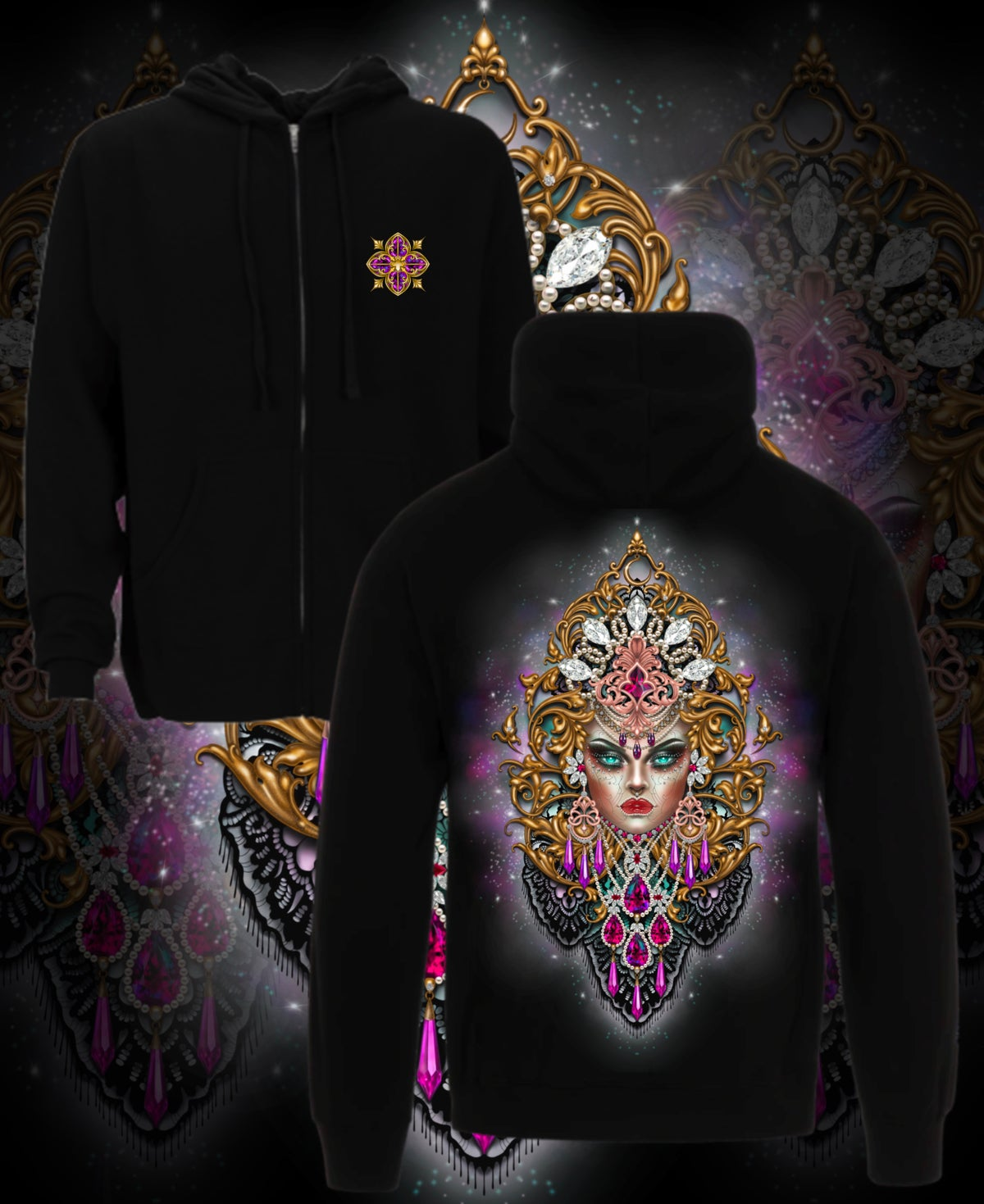Image of Rococo Goddess unisex zip hoodie