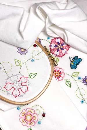 Image of Garden Party Ready-to-Stitch Towel Set