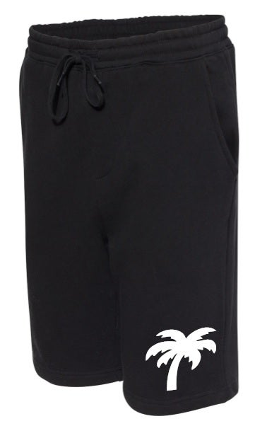 Image of Palm Logo Fleece Shorts (Black)