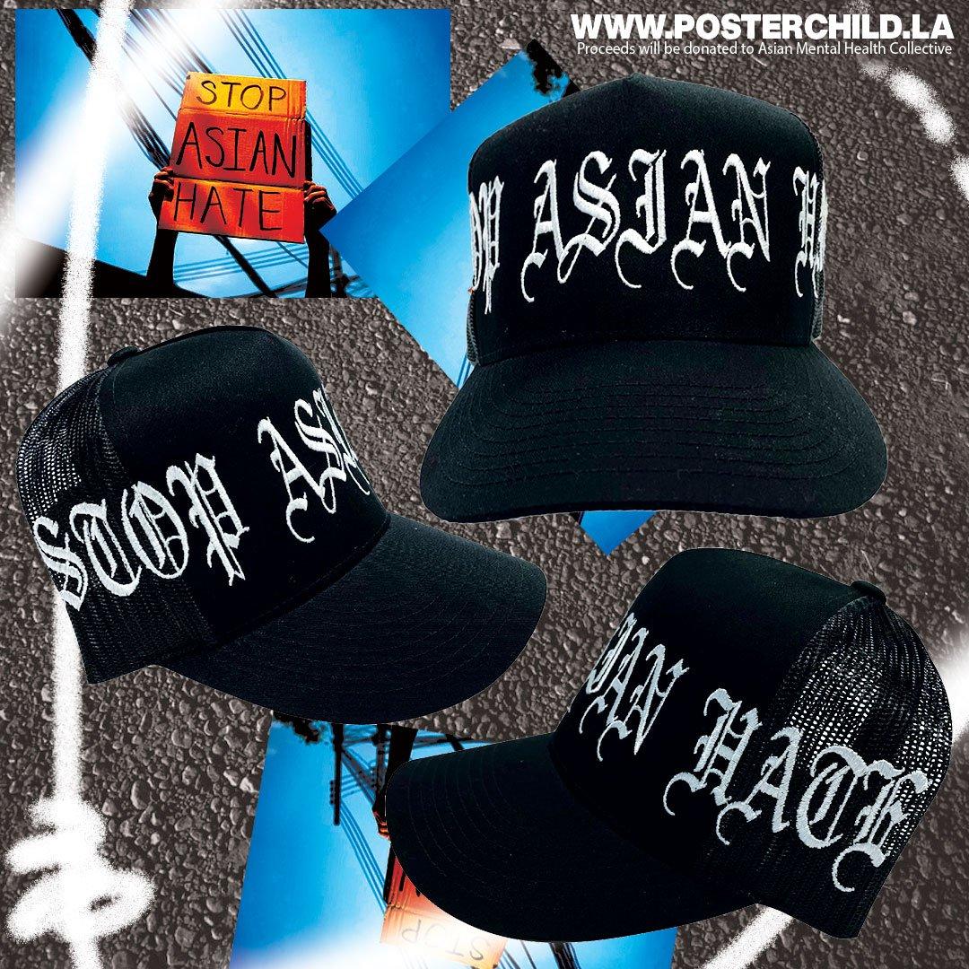 STOP ASIAN HATE Black Trucker