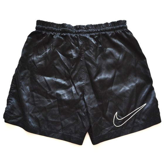Image of Vintage 1990's Nike Air Black Nylon White Embroidered Swoosh Shorts Sz.S