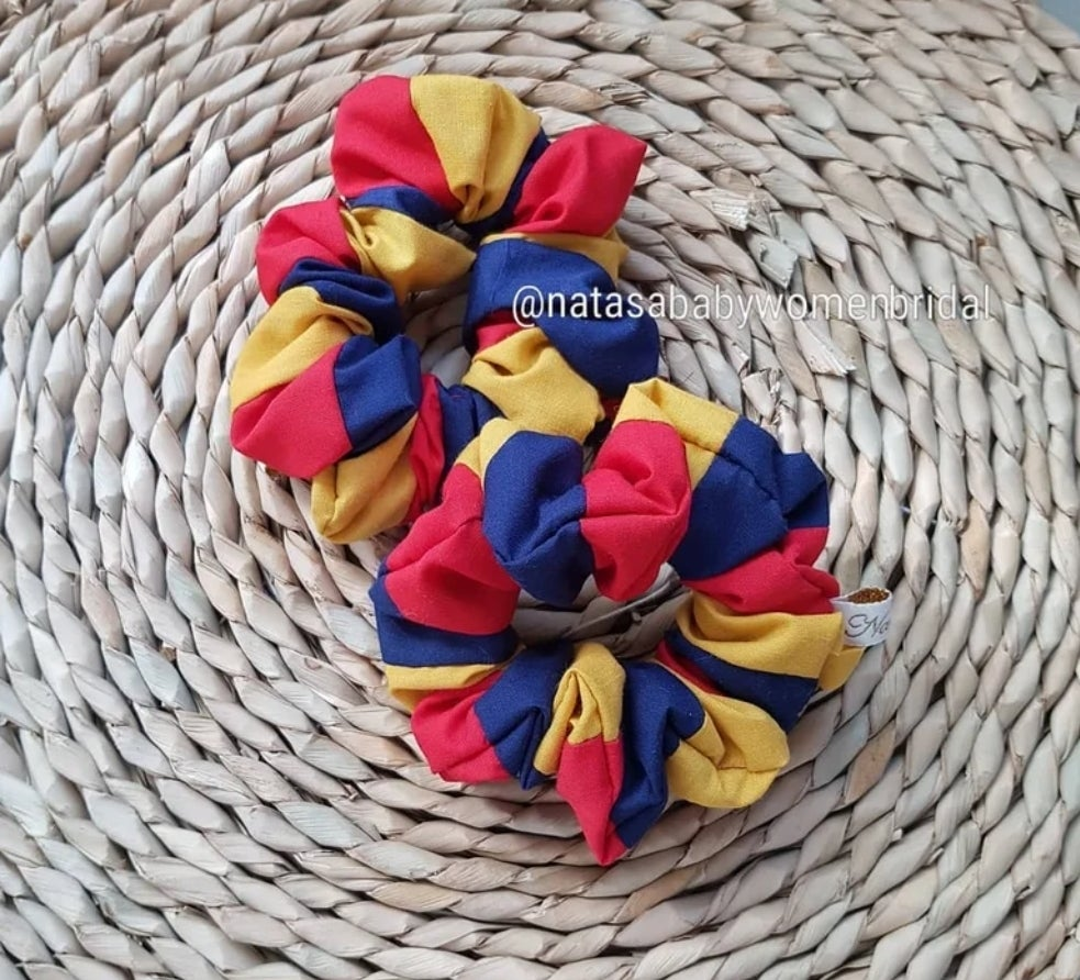 Image of AFL coloured scrunchies- Adelaide Crows colours