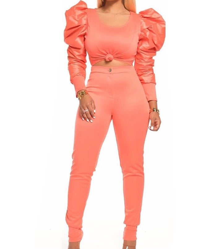 "Image of ""Show Stopper"" Puff Sleeve/Pant Set"