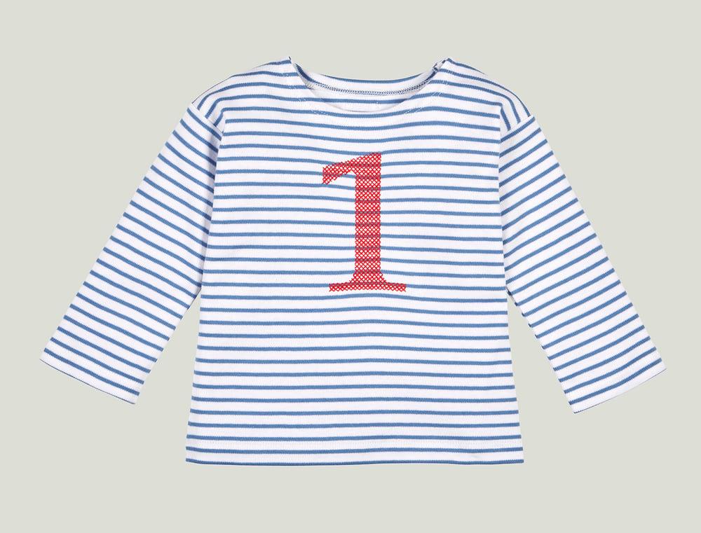Image of Geburtstags-Shirt blau gestreift mit roter gestickter Zahl (für 1 bis 6 Jahre) Art.266278