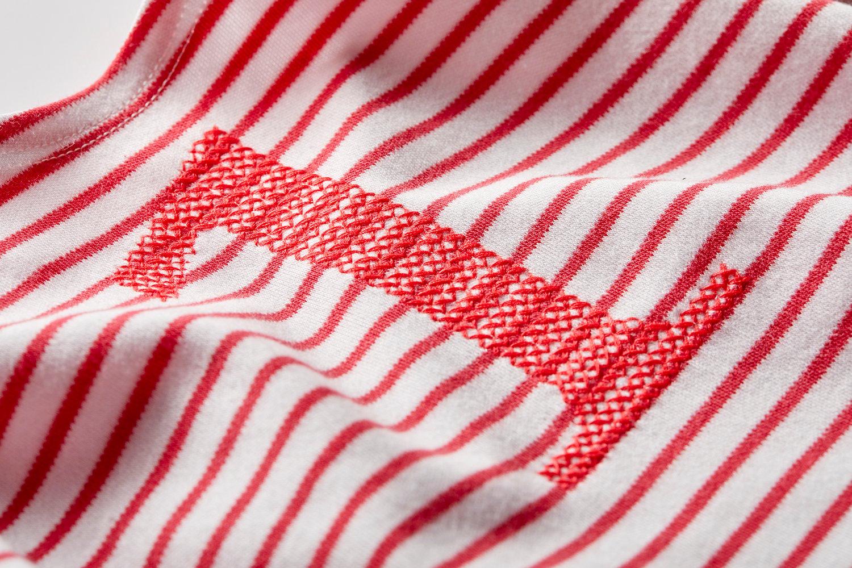 Image of Geburtstags-Shirt rot gestreift mit roter gestickter Zahl (für 1 bis 6 Jahre) Art.266265