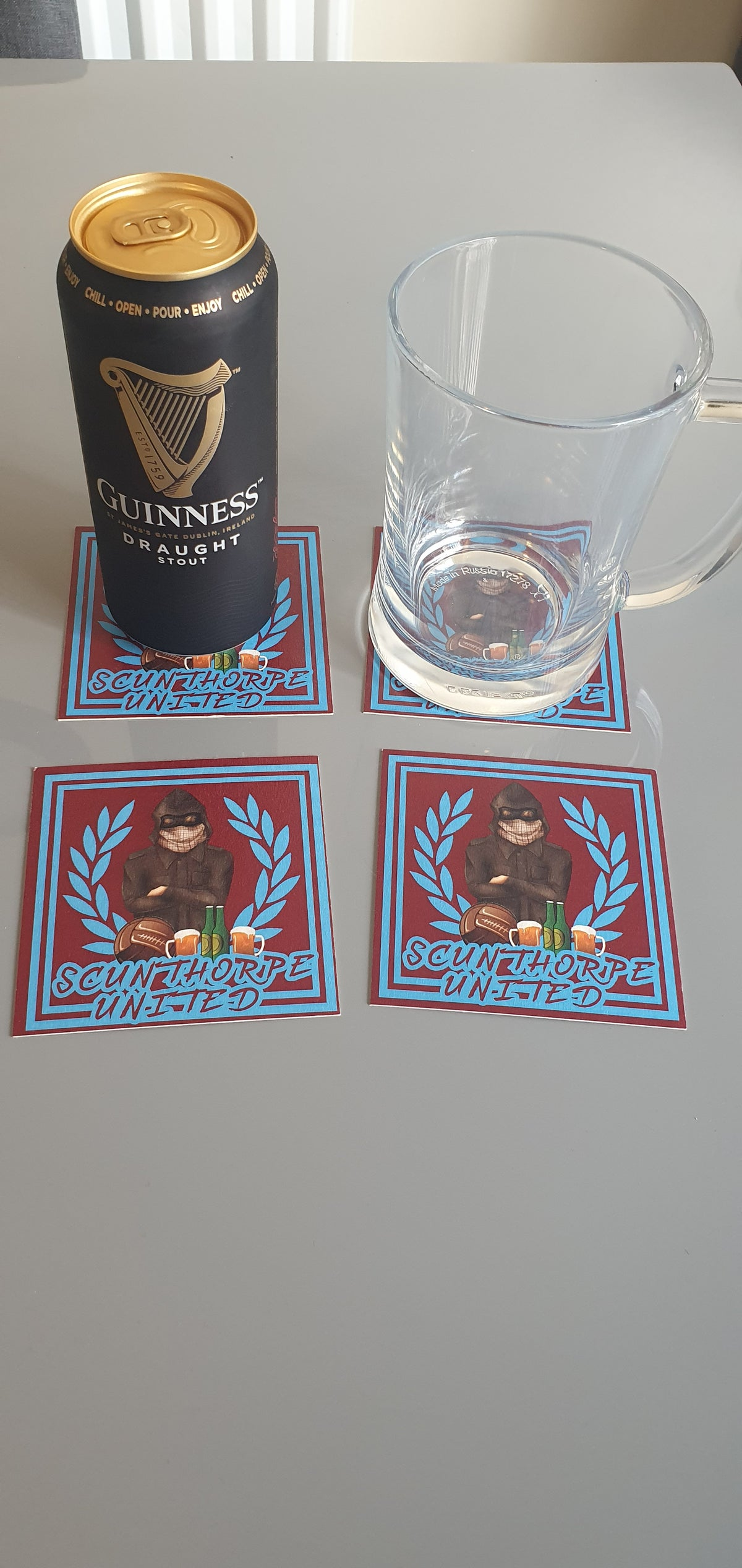 Pack of 10 10x10cm Scunthorpe beer mats.