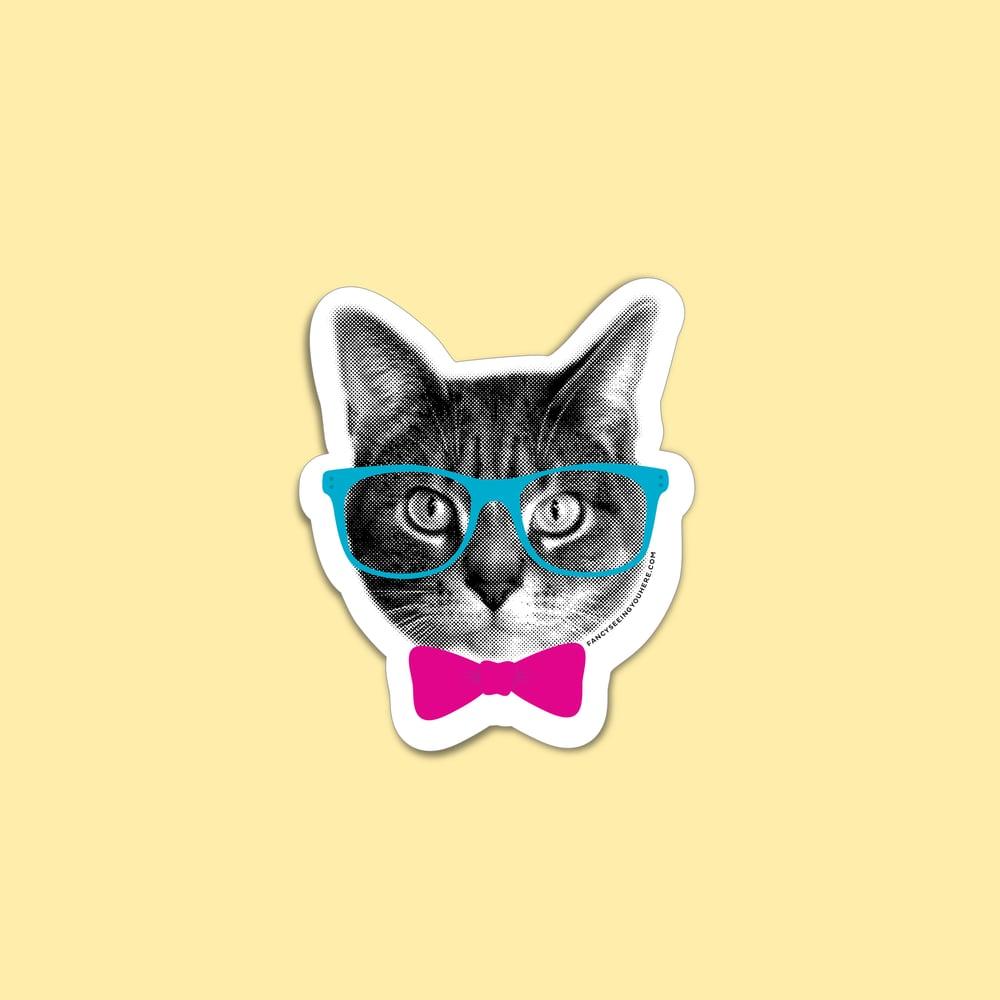 Image of nerd cat sticker - hipster kitty - glasses bowtie cat - cat decal - laptop sticker