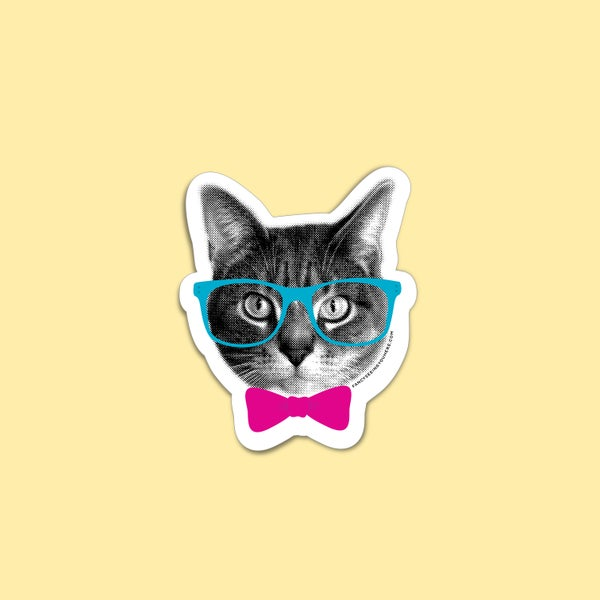 Image of nerd cat sticker - hipster kitty - glasses bowtie cat - cat decal - laptop sticker