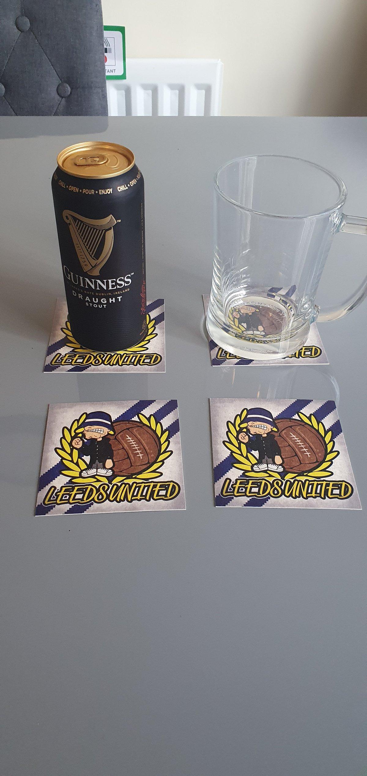 Pack of 10 10x10cm Leeds United football beer mats.
