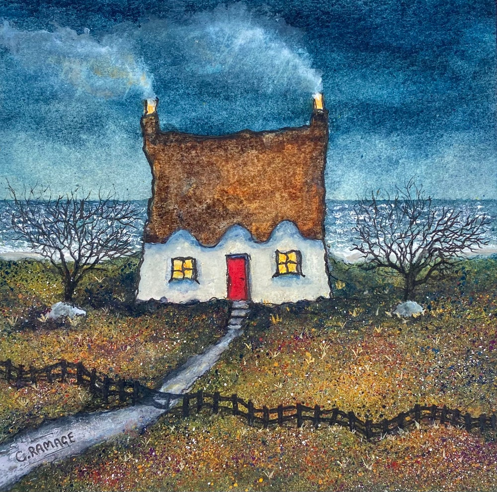 Image of Little Cottage By The Sea (Red Door and Stormy Sea)