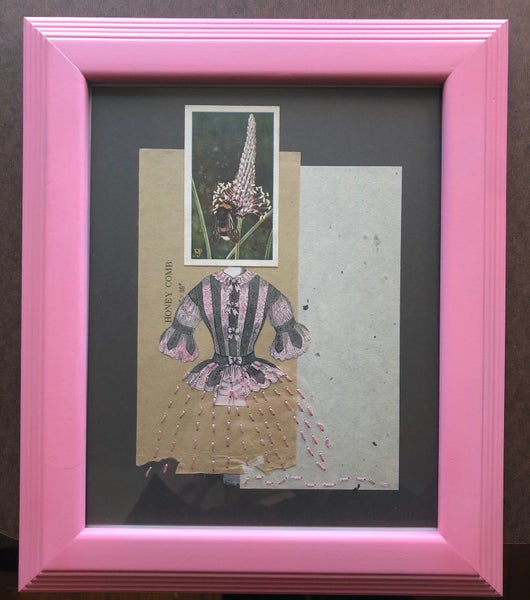 Image of She had a bee in her bonnet. Original  framed collage.