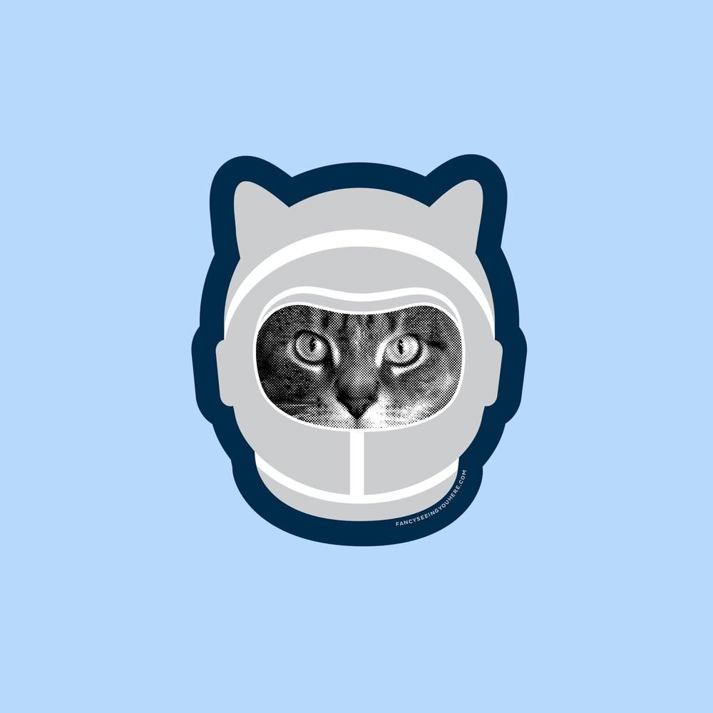 Image of space cat sticker - astronaut kitty - astrocat - cat decal - laptop sticker