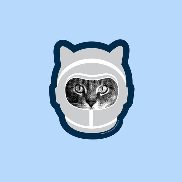 Image of space cat sticker - astronaut kitty - astrocat - cat decal - laptop sticker