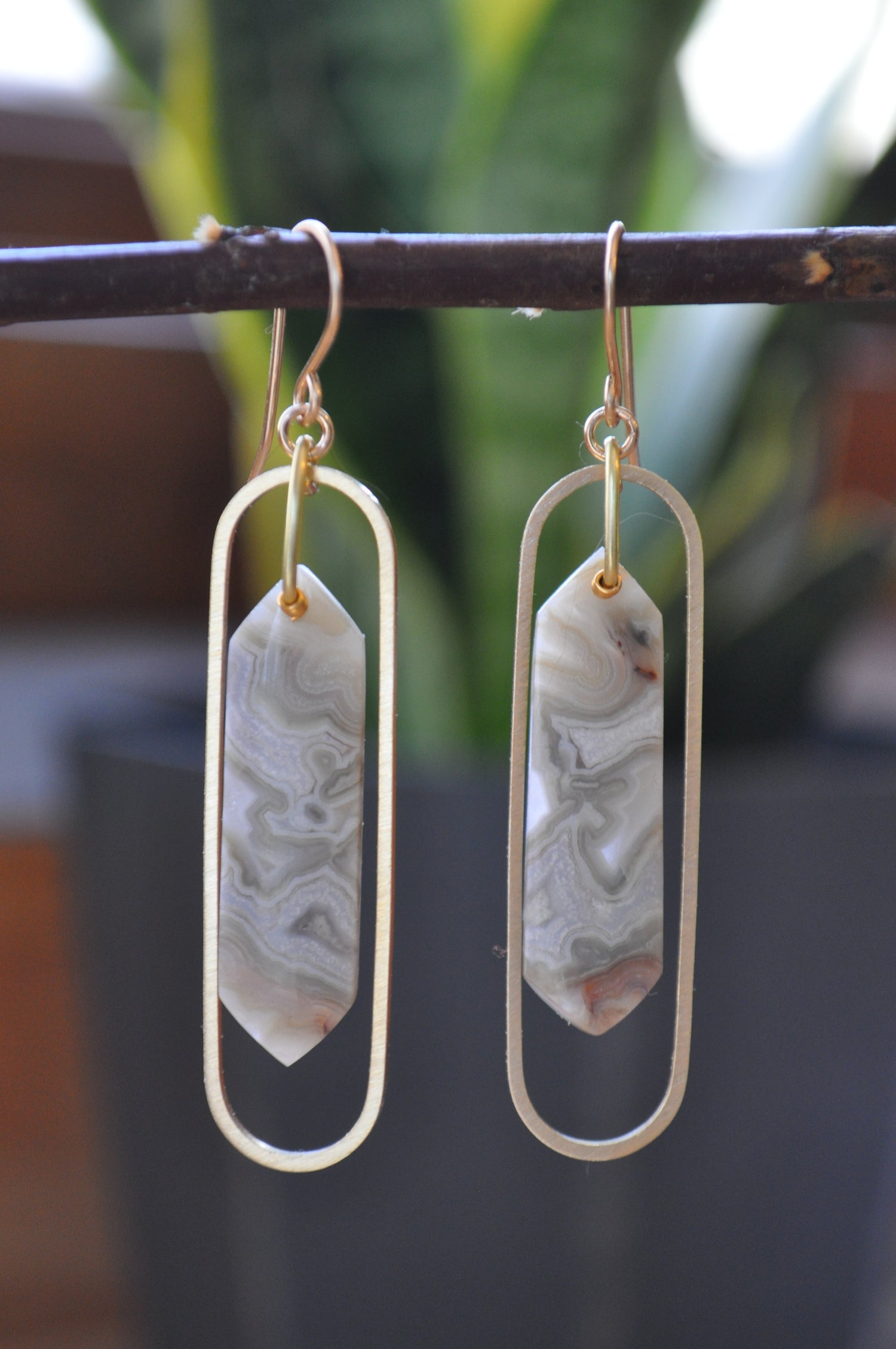 Image of OOAK Crazy Lace Agate Elongated Oval Dangles