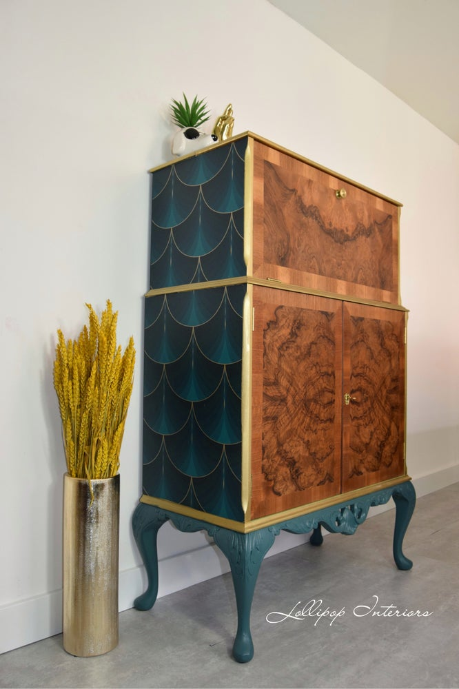 Image of Art deco cocktail cabinet in green and gold