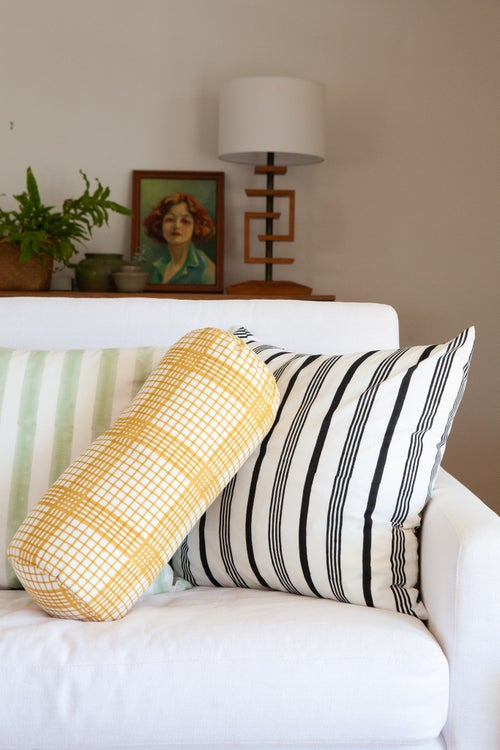 Image of Decorative Pillow Yellow Check
