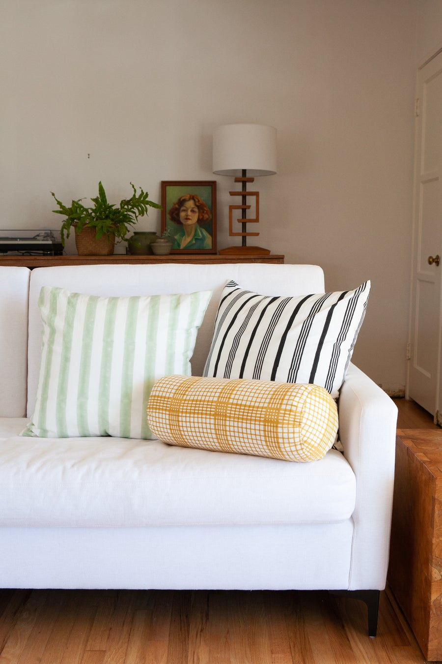 Image of Decorative Pillow Green Stripe