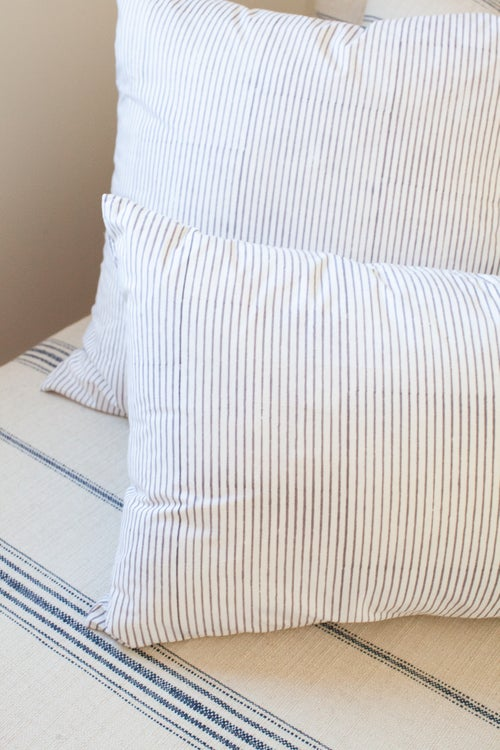 Image of Custom Pillow Skinny Charcoal Stripe