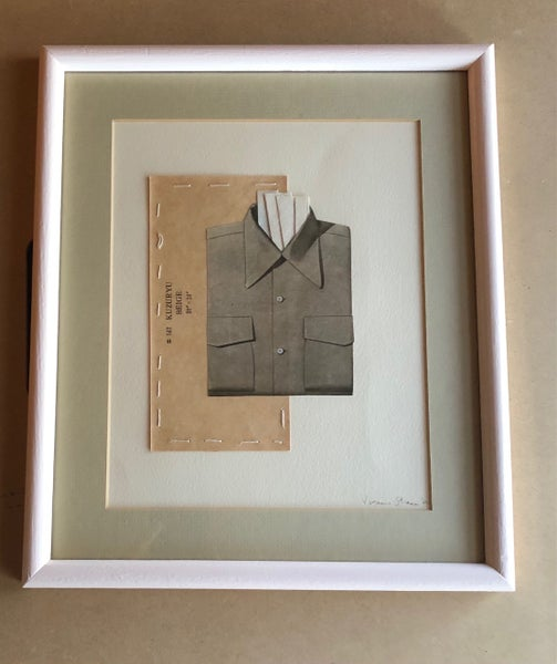 Image of Not just another stuffed shirt. Original framed collage.