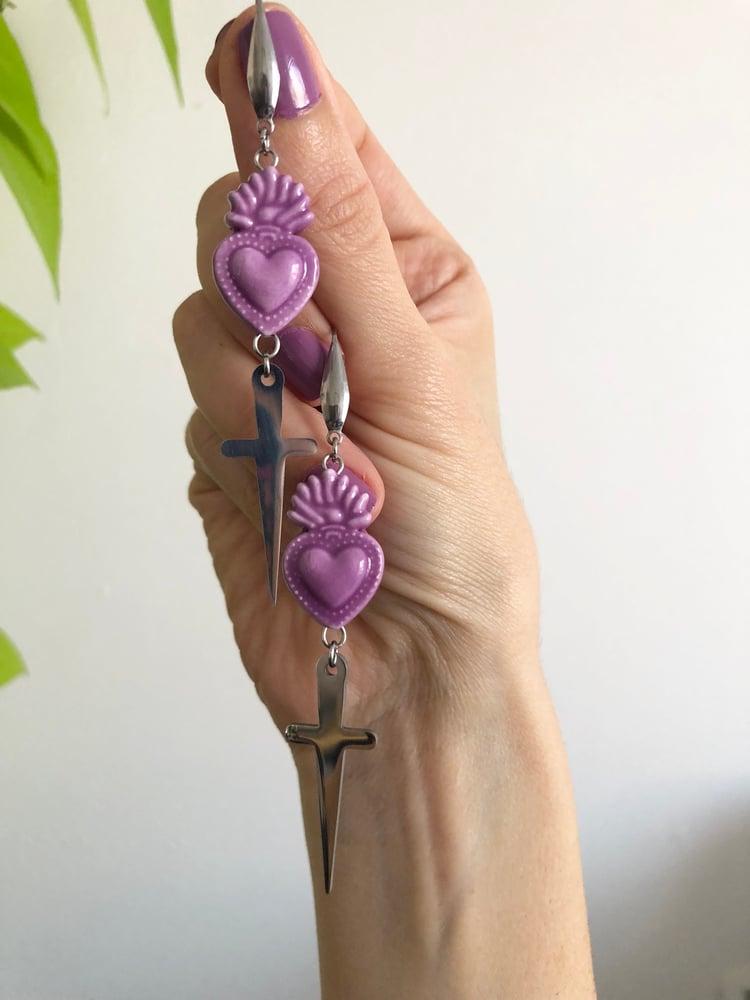 Image of CERAMIC SACRED HEART DAGGER EARRINGS OR STRETCHERS