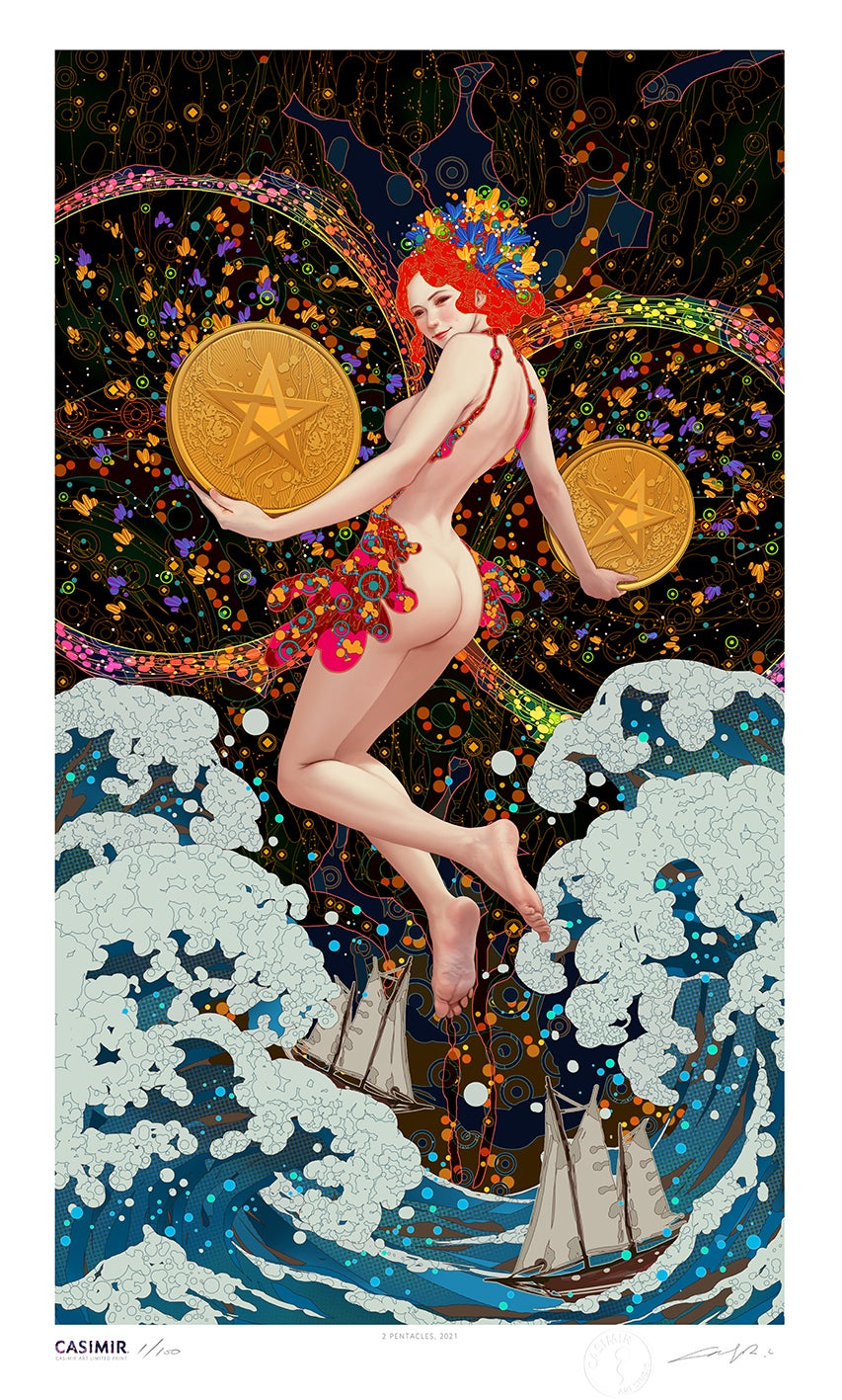Tarot Series - TWO of PENTACLE / 錢幣二 塔羅牌系列 限量版畫