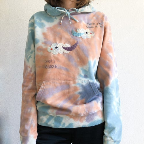 Image of Pillow talks of 2 hybrid cloud-birds - hand embroidered organic cotton hoodie, Unisex, one of a kind